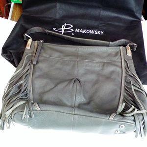 B Makowsky Gray Leather Fringe Hobo Handbag Purse